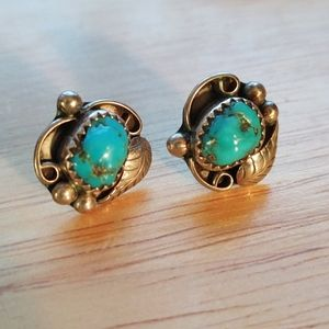 Sterling turquoise squash blossom post earrings